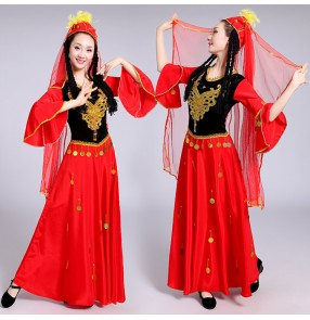 Women's chinese Xinjiang dance dresses red colored Uyghur minority stage performance dresses costumes