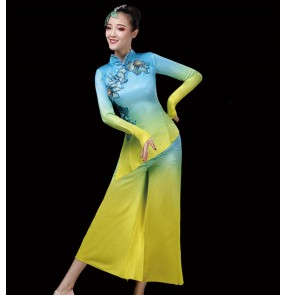 Women's chinese Yangko costume blue with yellow Jasmine chinese classical dance costume female umbrella fan square dance suit