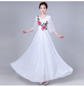 Women's chorus singers long dress opening dancing fairy evening party photos cosplay dress