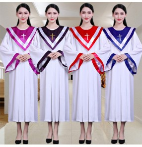 women's Church choir performance dresses pray chorus costumes Christ Jesus teaches hymns saint clothes church adult saints robe