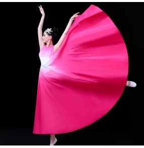 Women's colorful gradient colored modern dance dress ballet dress stage performance host chorus singer performing dress