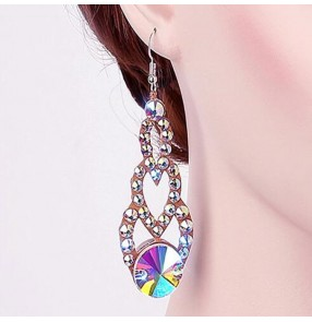 Women's competiiton ballroom latin dance rhinestones earrings stage performance evening party dresses diamond eardrops