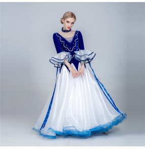 Women's competition ballroom dancing dresses female blue red violet flamenco waltz tango foxtrot stage performance dance dresses