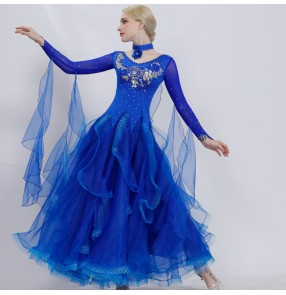 Women's competition ballroom dancing dresses female embroidered stage performance waltz tango flamenco dance dresses skirts