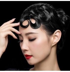 Women's competition ballroom latin dance front hair bangs stage performance headdress
