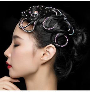 Women's competition ballroom latin dance rhinestones hair bangs stage performance hair accessories