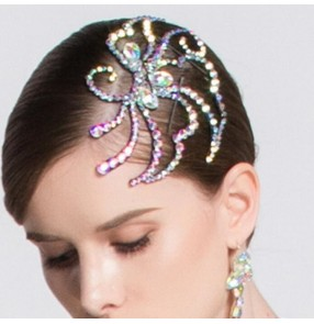 Women's competition ballroom waltz tango latin dance bling headdress hair accessories