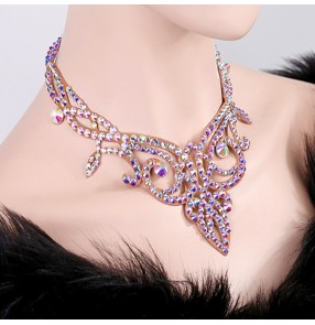 Women's competition Czech diamond crystal handmade professional ballroom latin dance choker necklace