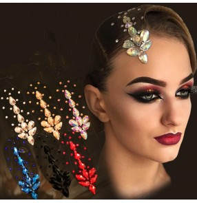 Women's competition dance rhinestones headdress waltz ballroom tango latin dance hair accessories