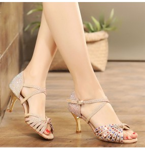 Women's competition diamond latin ballroom dance shoes stage performance tango waltz dance shoes 7.5cm heel