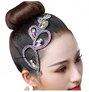 Women's competition latin ballroom dance diamond headdress hair accessories