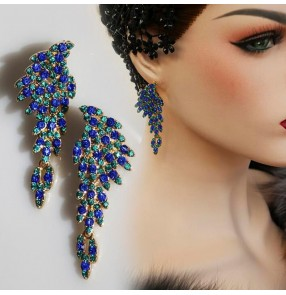Women's competition latin dance rhinestones earrings  ballroom dance crystal earrings eardrop one pair