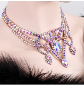 Women's competition professional  ballroom latin  necklace Czech diamond ballroom waltz tango dancing necklace choker
