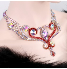 Women's competition professional ballroom waltz tango crystal Czech diamond necklace