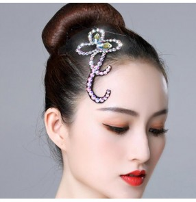 Women's competition salsa ballroom latin dance diamond headdress hair accessories