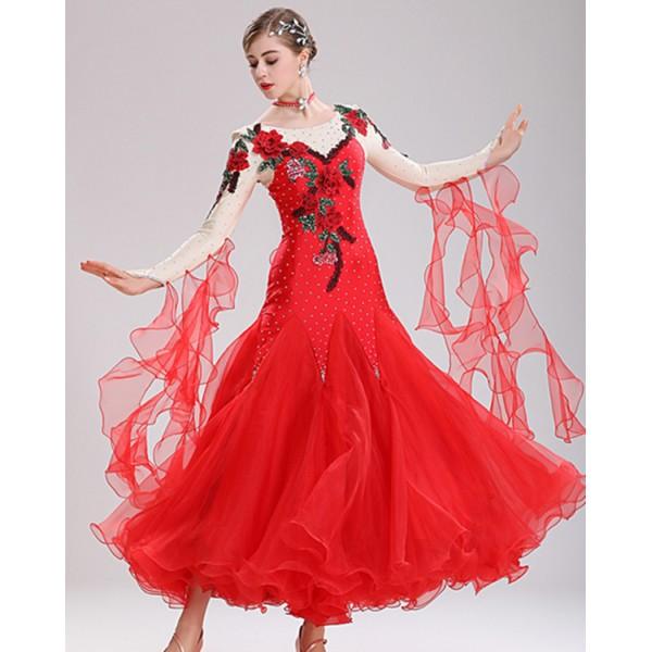 0cdf441c7 Women's competition stage performance ballroom dancing dresses red violet  rhinestones flowers flamenco waltz tango dance dresses