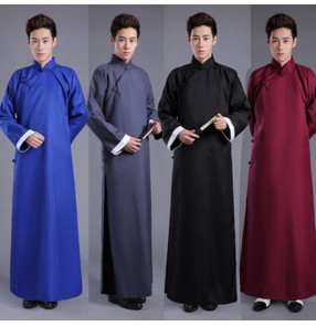 Women's Cross talk performance clothes Chinese robe and mandarin clothes Tang suit men's retro kungfu long gown performance clothes ancient costume