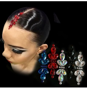 Women's crystal rhinestones headdress hair accessories stage performance competition ballroom waltz tango latin head piece