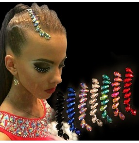 Women's crystal rhinestones stage performance hair accessories competition ballroom waltz tango dance headdress