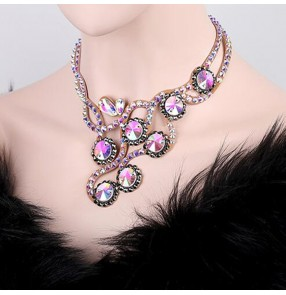 Women's dance diamond necklace handmade stones headdress ballroom latin competition stage performance necklace