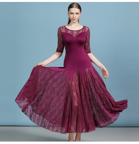 Women's dark green pink wine ballroom dancing dresses professional waltz tango dance dresses