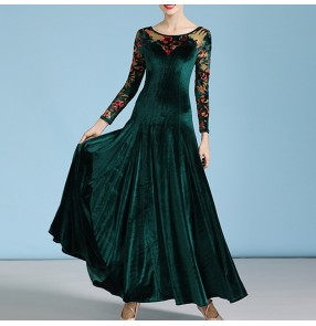 Women's dark green red floral velvet ballroom dance dress for girls waltz tango foxtrot smooth standard dance swing skirt dresses