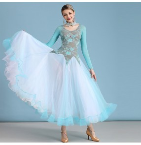 Women's diamond ballroom dancing dresses competition waltz tango dance dresses