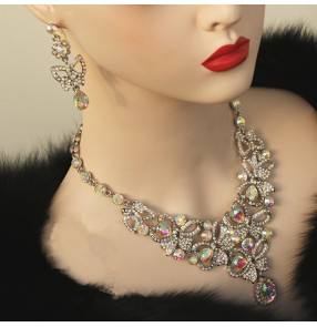 Women's diamond competition latin ballroom dancing necklace and earrings