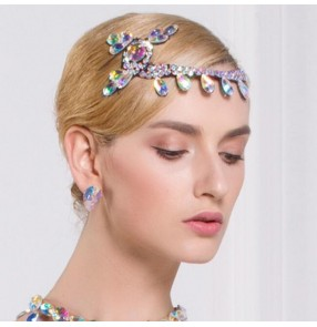 Women's diamond headdress for ballroom latin dance competition salsa chacha dance rhinestones hair accessories