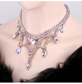 Women's diamond modern dance necklace choker handmade rhinestones stage performance ballroom competition head piece necklace