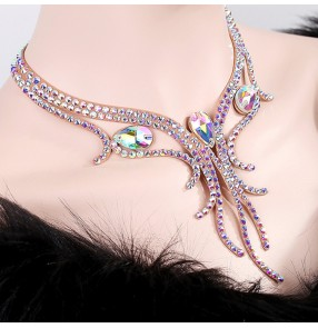 Women's diamond stones waltz ballroom dancing necklace choker handmade professional competition stage performance choker