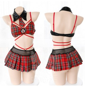 Women's England college plaid cosplay costumes style anime temptation sexy uniforms costumes