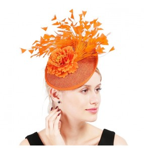Women's evening party stage performance ivory orange black sinamay pillbox hats party fascinators top hats