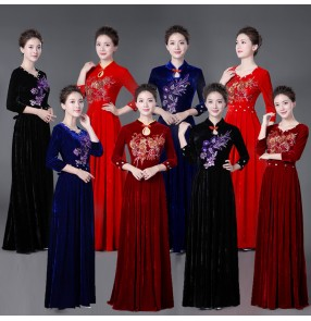 Women's evening wedding party chorus singers stag performance dresses velvet long sleeves female group Miss etiquette performance dresses