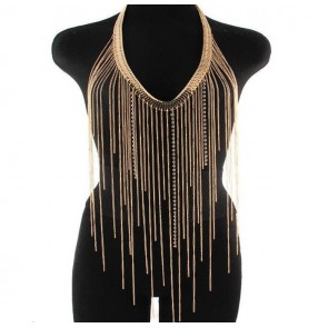 Women's fashion body necklace for stage performance night club  pole punk rock dance body long fringes necklace jewelry accessories