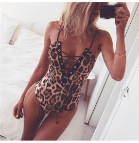 Women's fashion jazz singers gogo dancers bodysuits leopard sexy night club pole dance leotards jumpsuits