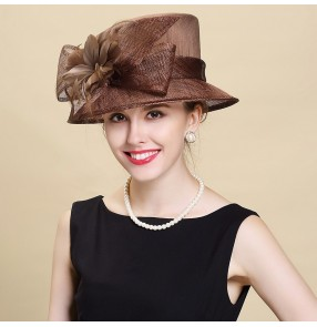 Women's fashion linen coffee church hat evening party England style fedoras summer beach hats photos wedding party hats