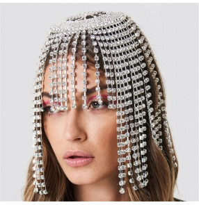 Women's fashion rhinestones wedding party bridal fringes headdress performance photos shooting hair accessories