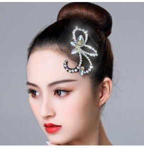 Women's female ballroom latin competition professional stage performance diamond headdress rhinestones hair accessories