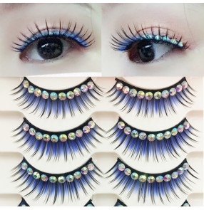 Women's female stage performance royal  blue thick eyelashes diamond cocktail party dance night club Masquerade photography dance eyelashes 5pair