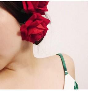 Women's flamenco ballroom latin dance headdress rose flowers one piece
