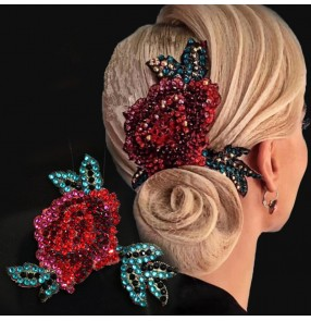 Women's flamenco dance rose flowers rhinestones headdress for ballroom waltz latin dance stage performance headwear