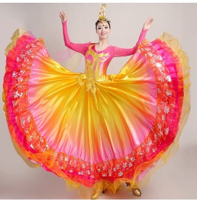 Women's flamenco dress spanish bull dance dress ballroom dresses stage performance  dresses big skirted chorus dresses
