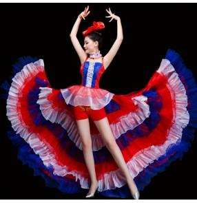 Women's flamenco dresses for female girls Spanish bull dance modern dance jazz gogo dancers red royal blue patchwork singers opening dancing big skirted long dresses
