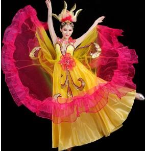 Women's flamenco dresses spanish bull dance dresses chorus ballroom dresses host singers stage performance dreses