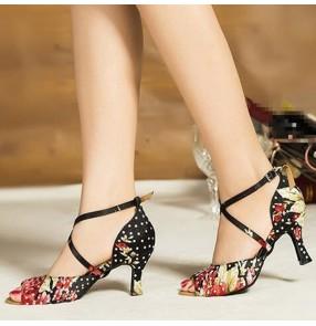 Women's floral printed latin dance shoes diamond soft cow leather sole ballroom tango waltz dance shoes