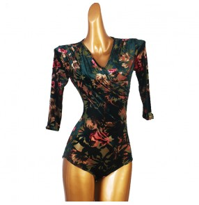 Women's floral velvet latin ballroom dance bodysuit stage performance dance tops