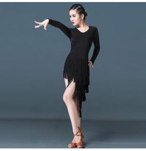 Women's fringes black colored latin dance dress stage performance salsa rumba chacha dance dress