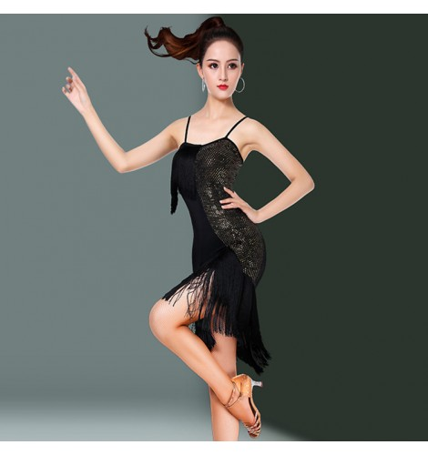 1ab4688b987f Women's fringes latin dance dresses black and red competition stage  performance salsa chacha rumba dance skirts dress
