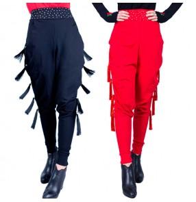 Women's fringes latin dance  pants rhinestones red black colored female salsa chacha rumba samba dance hamrem pants trousers